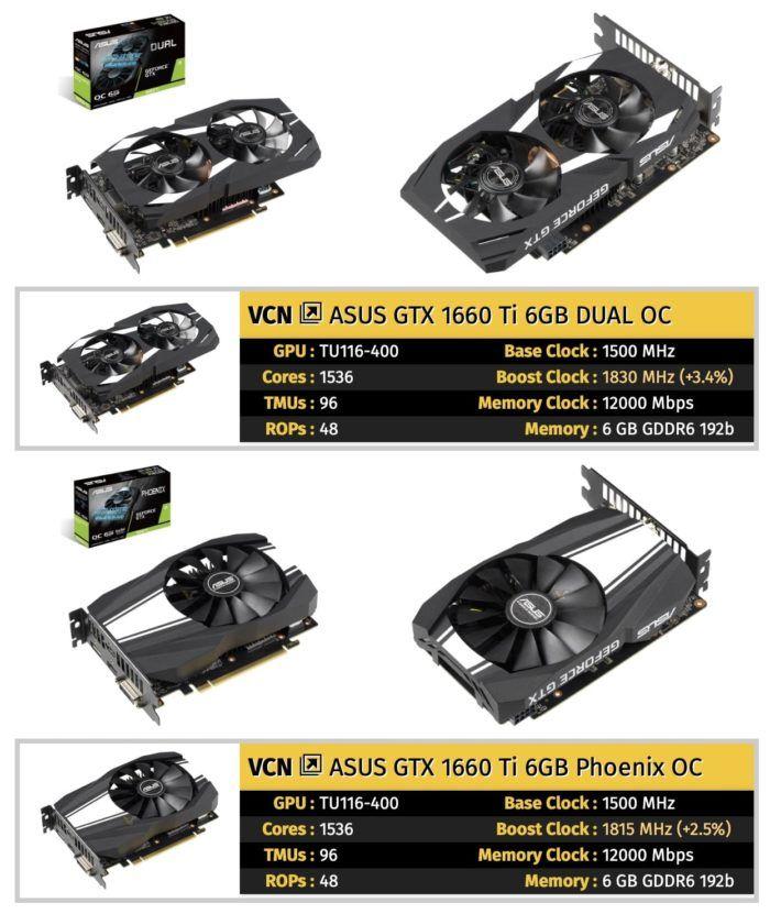 Tarjetas gráficas ASUS GeForce GTX 1660 Ti Series